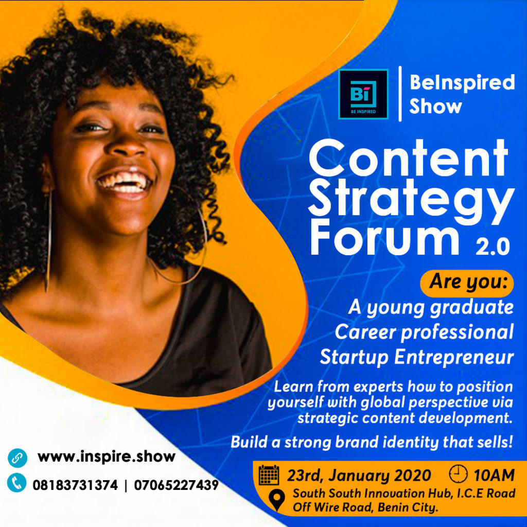 Content Strategy Forum, Write your Hustle, BeInspired Show